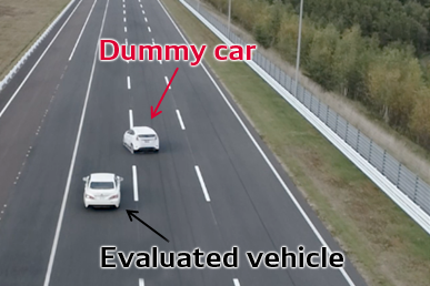 Evaluation of vehicle pulling out in front of another vehicle using a dummy car